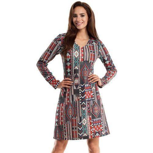 MOE257 Sukienka trapezowa - boho, w 4 rozmiarach
