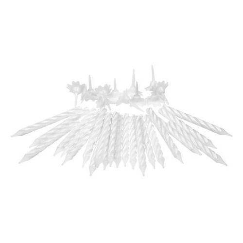 Świeczki białe klasyczne z podstawkami - 24 szt. marki Ar