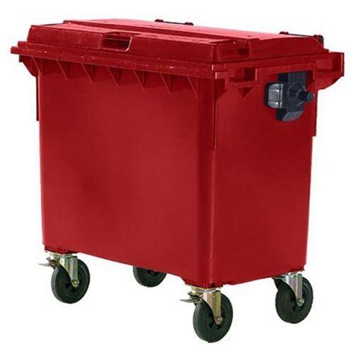 Duży pojemnik z tworzywa na odpady wg PN EN 840, poj. 660 l, czerwony, dostawa o