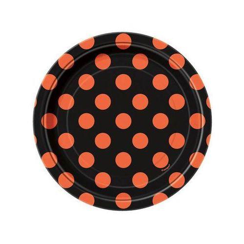 Talerzyki urodzinowe czarne w pomarańczowe kropki - 18 cm - 8 szt.