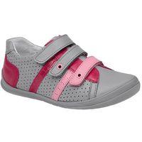 Sneakersy półbuty 1654 szare+róż skóra na rzepy - popielaty ||szary ||różowy marki Kornecki