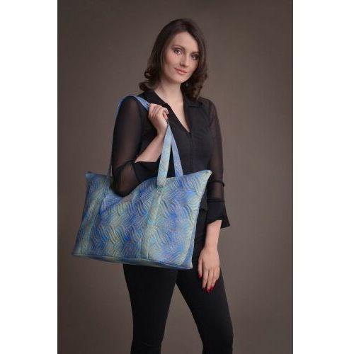 Duża torba pikowana z materiału w kolorze błękitno-turkusowym ze złotą mandalą - KOLEKCJA MANDALE, D287-938F3