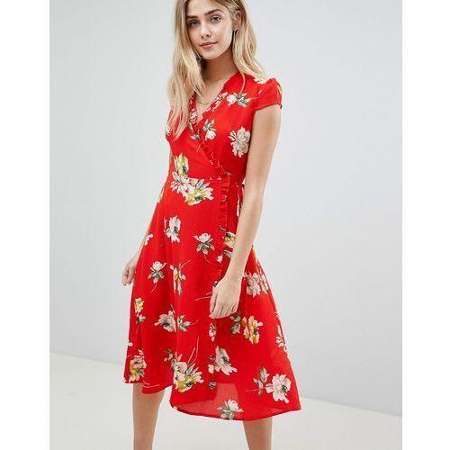 Boohoo Floral Pleat Trim Wrap Midi Dress - Red, kolor czerwony