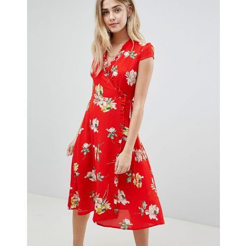 Boohoo floral pleat trim wrap midi dress - red