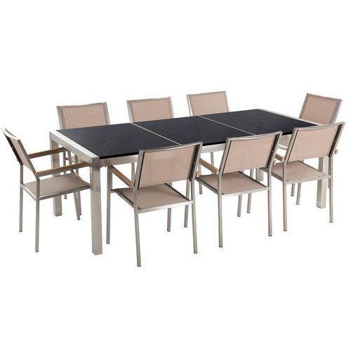 Meble ogrodowe - stół granitowy 220 cm czarny polerowany z 8 beżowymi krzesłami - GROSSETO