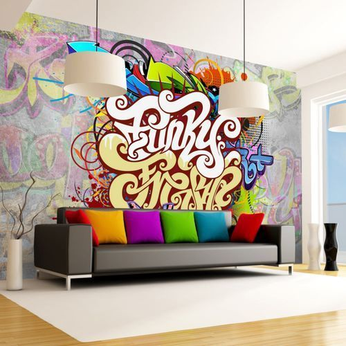 Fototapeta flizelinowa wodoodporna hd - funky graffiti 300 szer. 210 wys. marki Artgeist