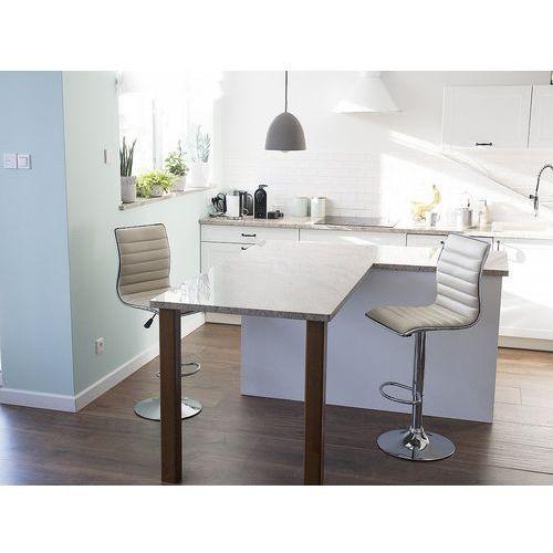 Hoker beżowy - krzesło - do jadalni - do kuchni - barowy - LUCERNE