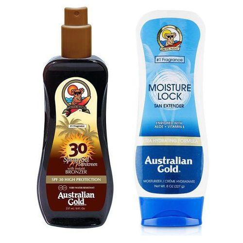 Australian gold spray gel bronzer spf30 and moisture lock | zestaw do opalania: spray do opalania z bronzerem 237ml + balsam po opalaniu 227g (2019062503837)
