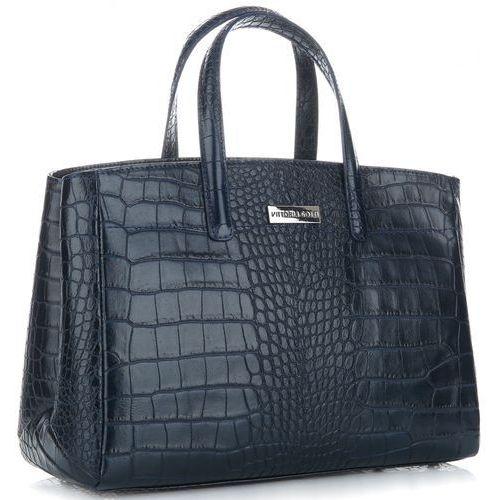 24262108db59c Vittoria Gotti Włoskie Torebki Skórzane Kufer XL wzór Aligatora Granatowy  (kolory)