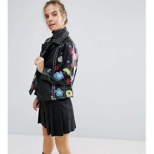Asos petite  floral embroidered leather biker jacket - black
