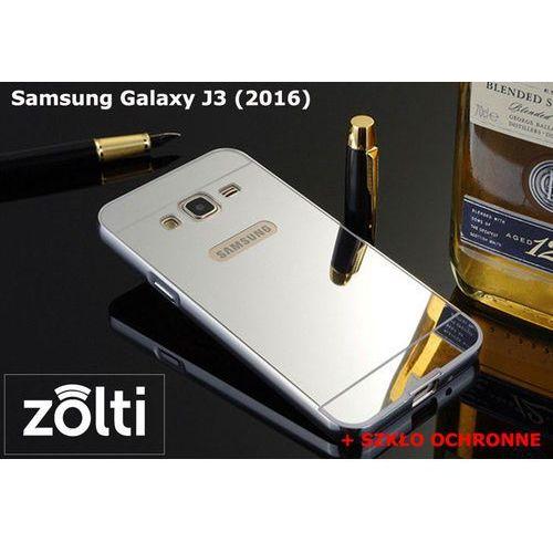 Zestaw | Mirror Bumper Metal Case Srebrny + Szkło ochronne Perfect Glass | Etui dla Samsung Galaxy J3 (2016), kup u jednego z partnerów