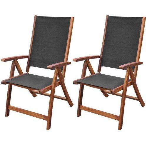 vidaXL Składane krzesła z drewna akacjowego, czarne, 2 szt. (8718475961901)