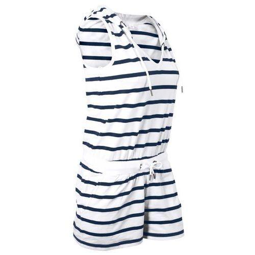 Bonprix Kombinezon, krótkie nogawki biało-ciemnoniebieski w paski
