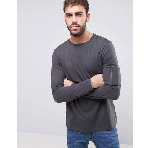 New Look Long Sleeve Top With MA1 Detail In Grey - Grey