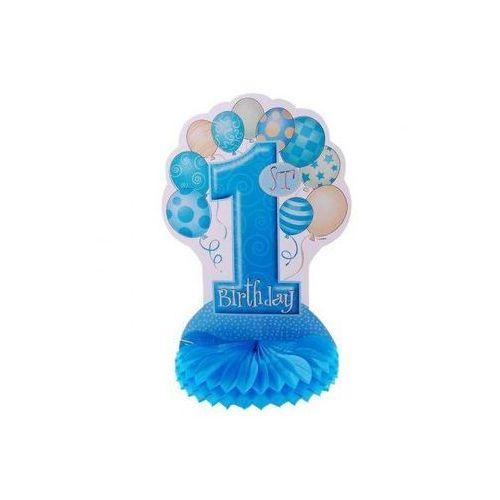 Rozeta na roczek 1st birthday baloniki niebieska - 35 cm - 1 szt. marki Unique