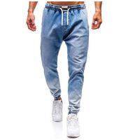 Spodnie jeansowe joggery męskie jasnoniebieskie Denley 2047