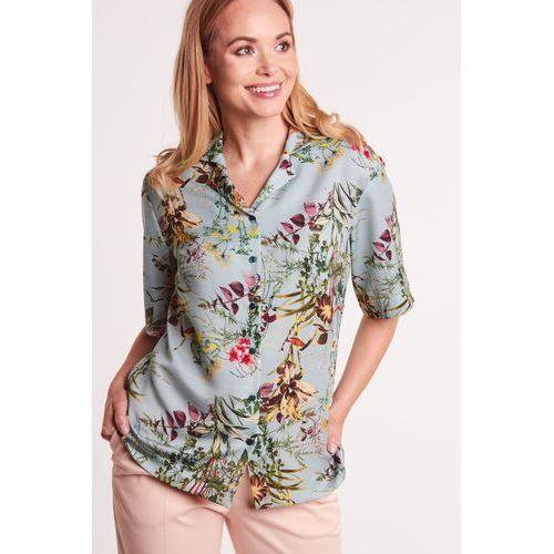 Pistacjowa koszula w kwiaty - Duet Woman
