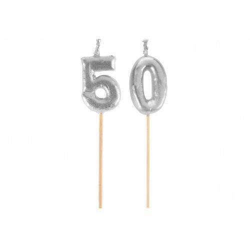 Santex Świeczka srebrna na 50-tke na piku - 1 szt. (3016600117687)