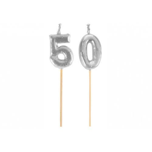 Santex Świeczka srebrna na 50-tke na piku - 1 szt.