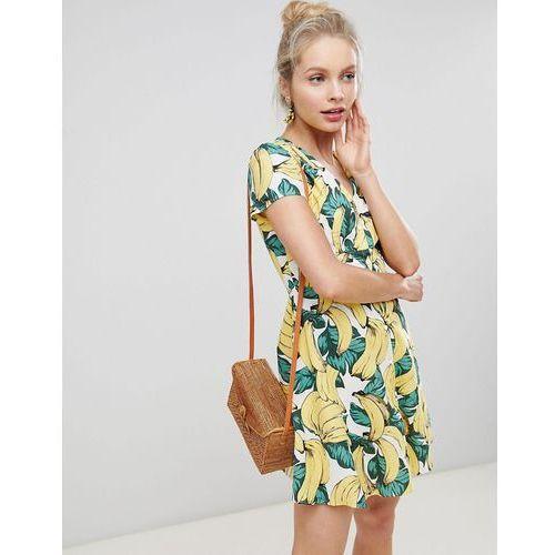 Glamorous Button Down Tea Dress In Banana Print - Yellow, kolor zielony
