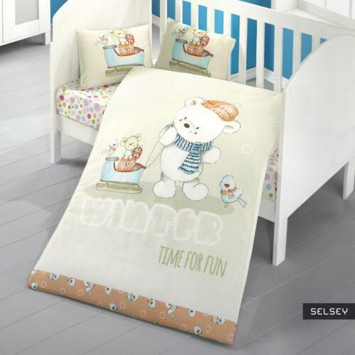 Asir Selsey dziecięca pościel do łóżeczka time for fun 100x150 cm z dwiema poszewkami na poduszkę 35x45 cm i z prześcieradłem