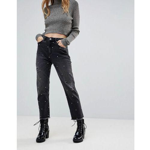 diamante embellished straight jeans - red marki Miss selfridge