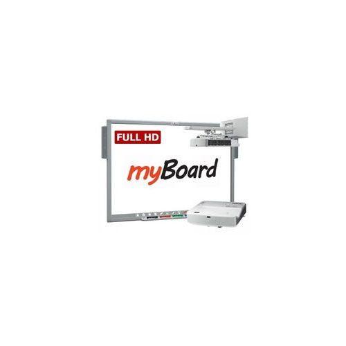 Zestaw! Tablica myBoard Silver 101 FullHD + projektor Optoma DH330UST (ultra short fullHD z uchwytem ściennym) + okablowanie 10 m (230V, HDMI) + głośniki AMP-32
