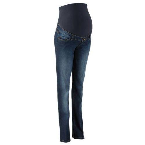 """Dżinsy ciążowe ze stretchem, proste nogawki bonprix ciemnoniebieski """"stone"""", w 9 rozmiarach"""