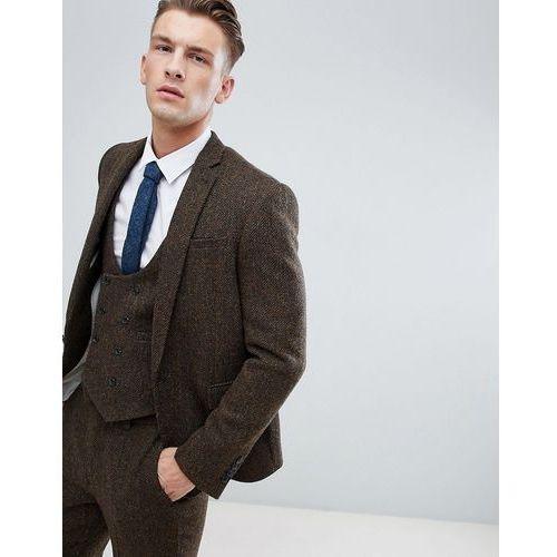 3bac923b5730d Marynarki męskie · ASOS DESIGN slim suit jacket in 100% wool Harris Tweed  in brown herringbone - Brown