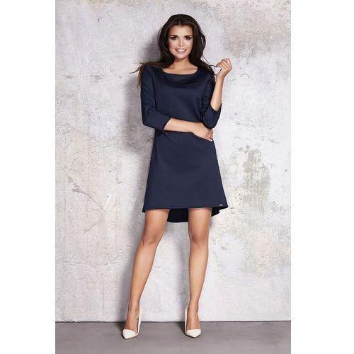 Awama Granatowa minimalistyczna sukienka z dłuższym tyłem