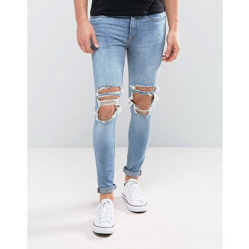super skinny jeans with extreme rips in mid wash - blue, New look