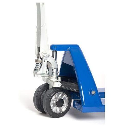 Paletowy wózek podnośny, rolki widłowe z poliuretanu, pojedyncze, łożyska kulkow marki Eurokraft