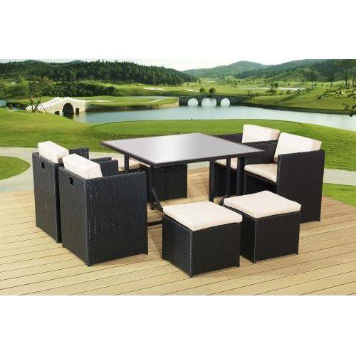 Bello giardino Zestaw stołowy stół, 4 x fotel, 4 x pufa czarny