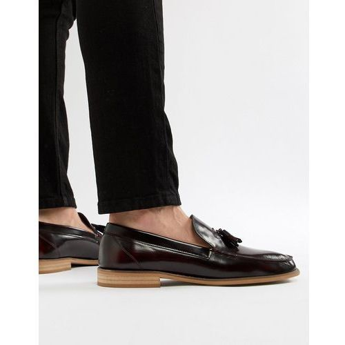 River island patent loafers with tassels in burgundy - red