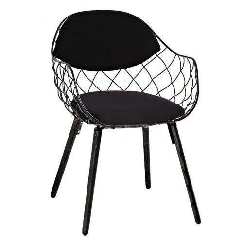 Krzesło demon czarne - metal, ekoskóra, podstawa bukowa marki Kh