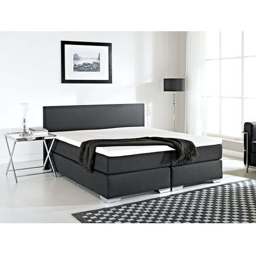 Beliani Łóżko kontynentalne 160x200 cm - łóżko tapicerowane - president czarne