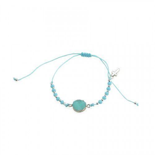 Dziesiątka różańca bransoletka religijna z niebieską cyrkonią, URBD016N