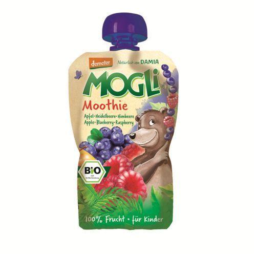 Mogli (moothie owocowe, batony, napoje) Moothie - przecier jabłkowy z bananem, jagodą i maliną 100% owoców bez dodatku cukrów bio 100 g - mogli (4260311980798)