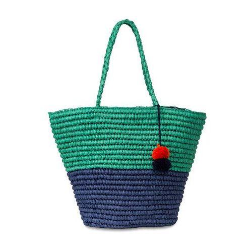 Bonprix Torba plażowa shopper, dwukolorowa, z pomponami ciemnoniebiesko-zielony miętowy