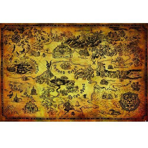 The Legend Of Zelda Hyrule Map - plakat