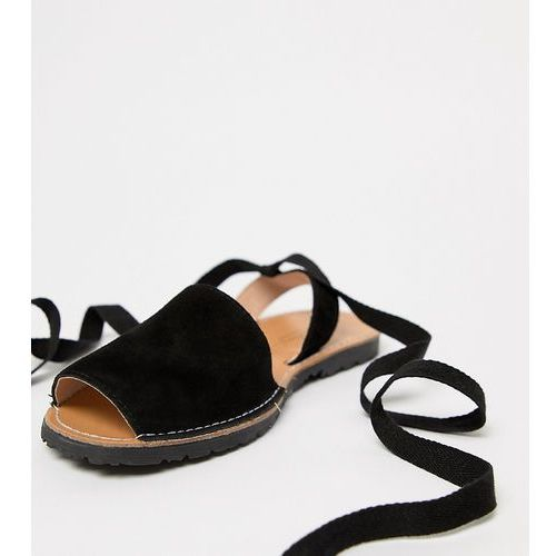Park Lane Wide Fit Suede Tie Leg Flat Sandals - Black