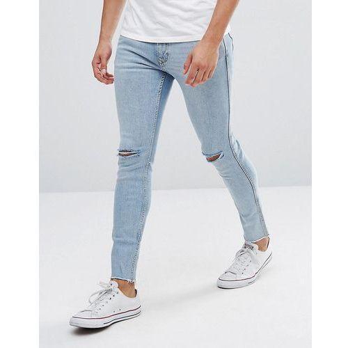 Mango Man Skinny Jeans With Rips In Light Wash - Blue, kolor niebieski