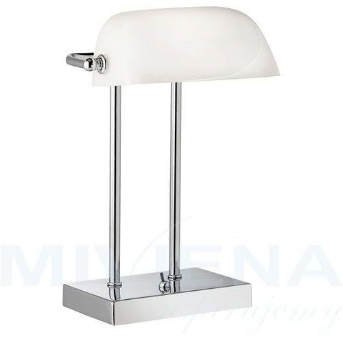 Bankers lampa stolowa 1 chrom białe szkło 32 cm