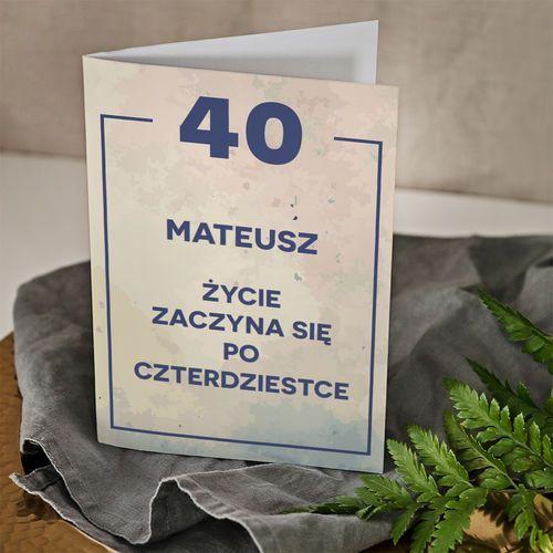 Mygiftdna 40 urodziny życie zaczyna się po 40 - kartka z życzeniami - kartka z życzeniami