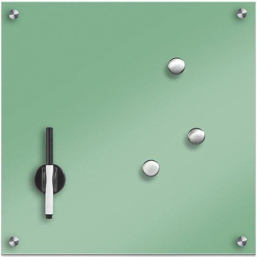 Szklana tablica magnetyczna memo, miętowy + 3 magnesy, 40x40 cm, marki Zeller