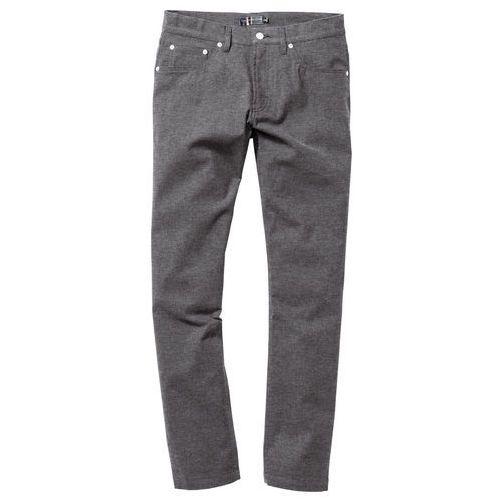 Spodnie z 5 kieszeniami, w optyce flaneli, regular fit antracytowy melanż marki Bonprix