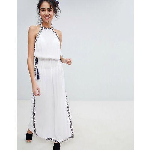 New Look Halter Stitch Maxi Beach Dress - White