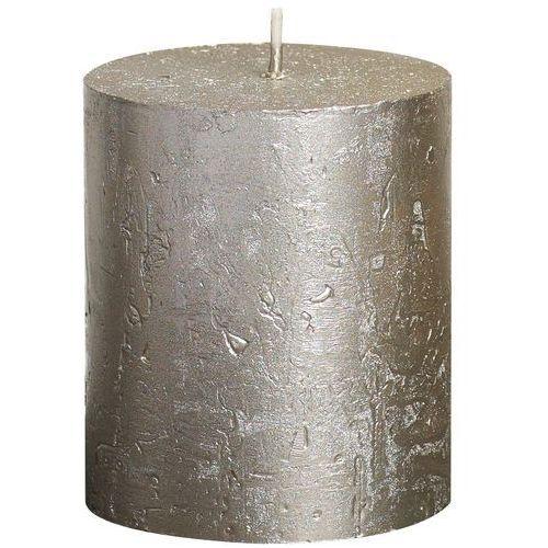 Świeca pieńkowa rustic metallic szampańska wys. 8 cm marki Bolsius