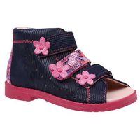 Sandałki profilaktyczne ortopedyczne buty 1042 granatowe glm - granatowy ||różowy marki Dawid