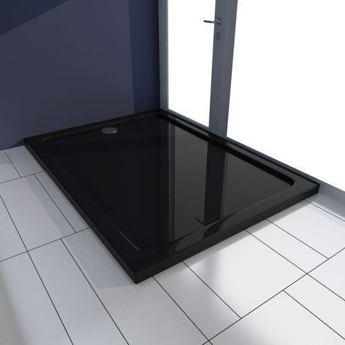 vidaXL Brodzik prysznicowy prostokątny ABS czarny 80 x 110 cm